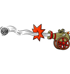 firing cannon and cannonball cartoon vector image