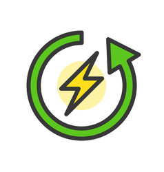 flash and circle arrow clean energy filled line vector image