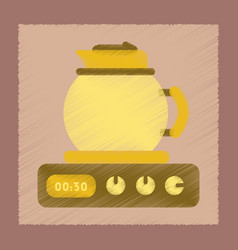 flat shading style icon coffee kettle on stove vector image