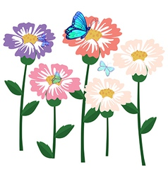 Flowers with butterflies vector