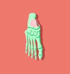 Foot skeleton paper sticker on stylish background vector