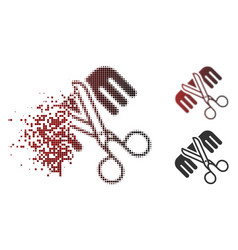 Fragmented dot halftone hairdressing tools icon vector