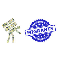 Grunge migrants stamp seal and military camouflage vector