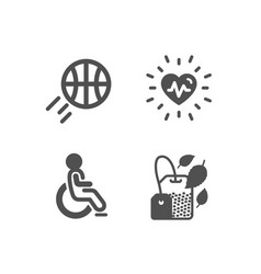 Heartbeat basketball and disabled icons mint bag vector