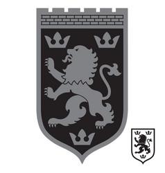 heraldic coat arms heraldic lion and three vector image