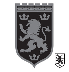 heraldic coat arms lion and three vector image