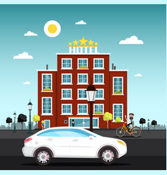 hotel building with car on street vector image