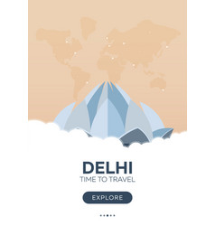 India delhi time to travel travel poster vector