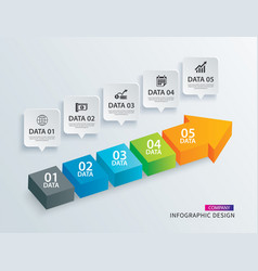 Infographics arrow timeline step with 5 data vector