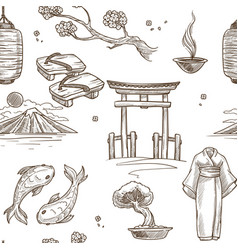 japan sketch pattern background seamless vector image