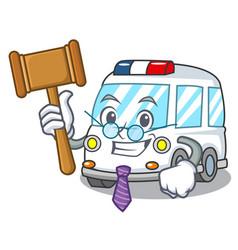 Judge ambulance mascot cartoon style vector