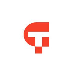 Letter ct simple geometric design logo vector