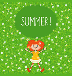 little red-haired girl summer green sunny meadow vector image