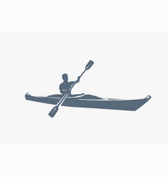 male silhouette on kayak on white vector image