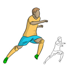 male soccer player with yellow jersey running vector image