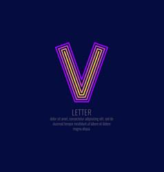 modern linear logo and sign letter v vector image