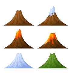 Mountain with Volcano Forest and Snow Set vector