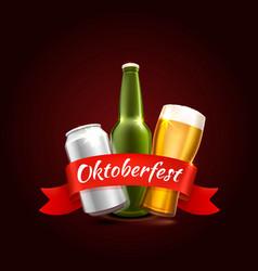 Oktoberfest beer festival celebratory cover of vector