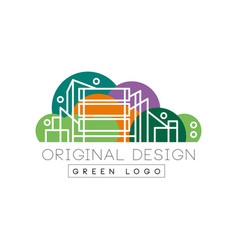 Original city logo design with high-rise buildings vector