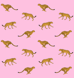 pattern black line yellow cheetah silhouette vector image