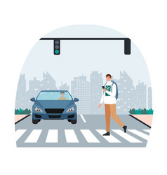 pedestrian crossing road on red traffic lights vector image