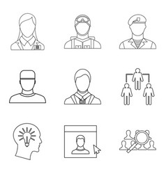 Personage icons set outline style vector