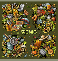 picnic cartoon doodle designs set vector image