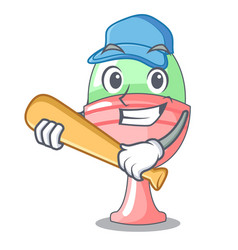 Playing baseball boiled egg cup isolated on mascot vector