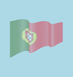 portugal flag on blue background wave stri vector image