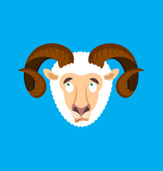 Ram confused emoji face avatar sheep is perplexed vector