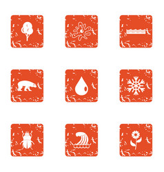 Reasonable icons set grunge style vector