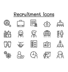 Recruitment icons set in thin line style vector