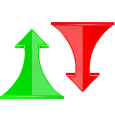 Red and green down and up arrows vector