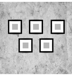 Retro picture frames on grunge wall for your vector image