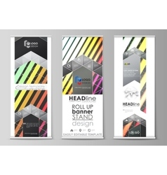 Roll up banner stands geometric style templates vector