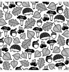 Seamless pattern with forest flora and fauna vector