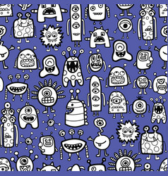 seamless pattern with funny monsters and aliens vector image