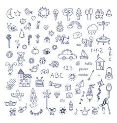 Set of hand drawn cute doodles Doodle children vector