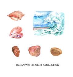 Set watercolor nautilus stone wave on white vector