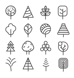 simple contour lines trees nature plants vector image vector image