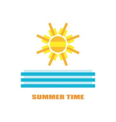 Summer image with sun and sea waves vector image