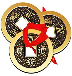 three ancient chinese coins feng shui tied vector image