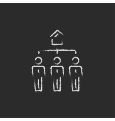 Three real estate agents icon drawn in chalk vector