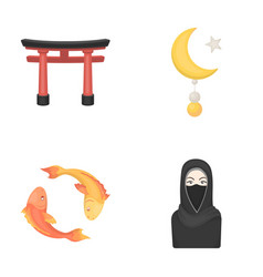 Torii carp koi woman in hijab star and crescent vector