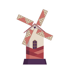 traditional ancient windmill building rural vector image