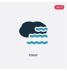 Two color foggy icon from meteorology concept vector