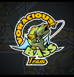 voracious bass the motto of the fishermens team vector image