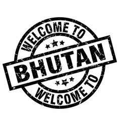 welcome to bhutan black stamp vector image vector image