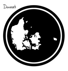 white map of denmark on black circle vector image