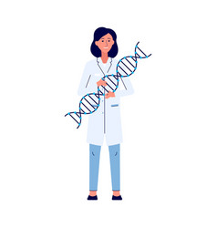 woman character with dna molecule model flat vector image
